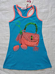 Детское летнее трикотажное платье-боксерка бирюзовое (С`est la Vie, Венгрия)