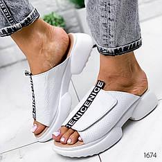 Шлепанцы женские белые на платформе летние, открытые из натуральной кожи. Шльопанці жіночі