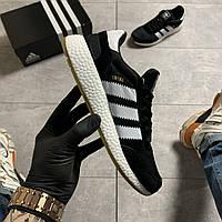 Мужские кроссовки Adidas Iniki Black White (Черный)