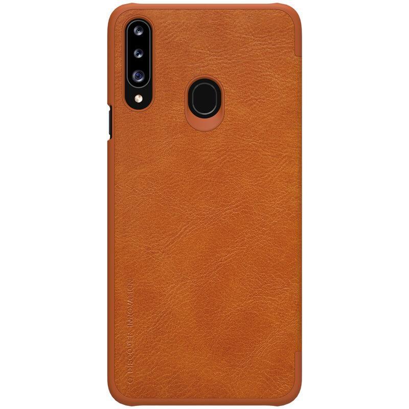 Кожаный чехол Nillkin Qin Series для Samsung Galaxy A20s Коричневый Чехлы Искусственная кожа Чехол-книжка