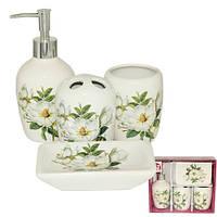 Набор аксессуаров для ванной комнаты 4 предмета Магнолия Snt 888-06-004