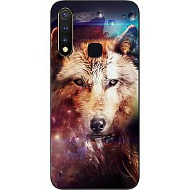 Чехол силиконовый с картинкой для Vivo Y19 Космический волк