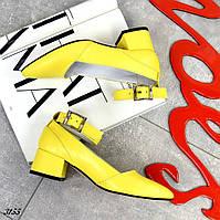 Шикарные кожаные туфли на каблучке 36-40 р жёлтый
