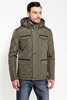 Мужская осенняя куртка стеганая с капюшоном темно-зеленаяFinn Flare B17-22033-905