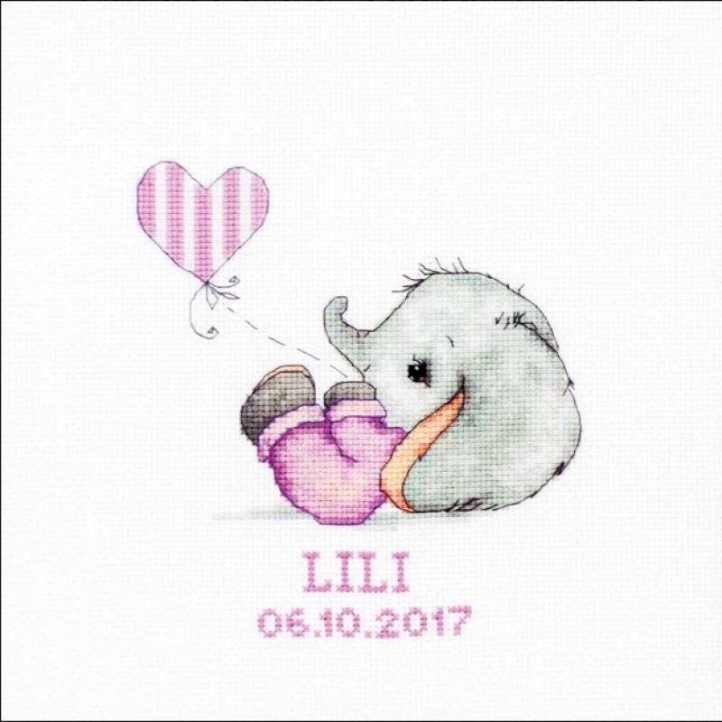 Наборы для вышивания крестом Luca S Детское Baby girl Метрика