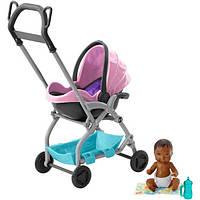 Barbie барби Коляска-переноска с малышом розовая FXG95 Skipper Babysitters Stroller, фото 1