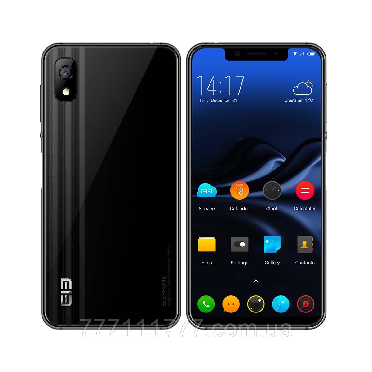 Смартфон черный, безрамочный с большим дисплеем на 2 sim Elephone A4 black 3/16 гб