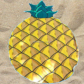 Пляжное покрывало-полотенце Ананас для отдыха на песке или траве, 150 см (K14344)