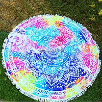 Пляжное покрывало-полотенце с бахромой Разноцветные узоры для отдыха на песке или траве, диаметр 145 см