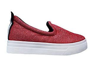 Слипоны блестящие SEASTAR 39 Красные 50767 39, КОД: 236163