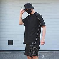 """Удлиненная мужская летняя футболка """"Saibot"""" с рефлективами по швам черная - L"""