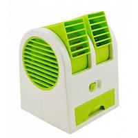 Переносной USB мини-вентилятор Mini Fan Air Cooler MY-0199, двухканальный, ароматизация, зеленый