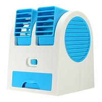 Переносной USB мини-вентилятор Mini Fan Air Cooler MY-0199, двухканальный, ароматизация, синий