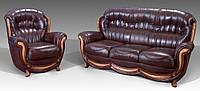 Кожанный диван с креслом Женове, фото 1