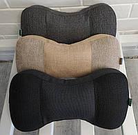 Подушка подголовник EKKOSEAT в машину эргономическая - трехсекционная. Черная, Серая, Бежевая.