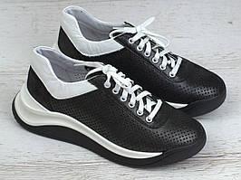 Кроссовки черные кожаные перфорация летняя женская обувь Rosso Avangard Mozza Black&White Perf