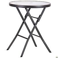 Круглый садовый столик Майя металлически ножки круглая столешница стеклянная
