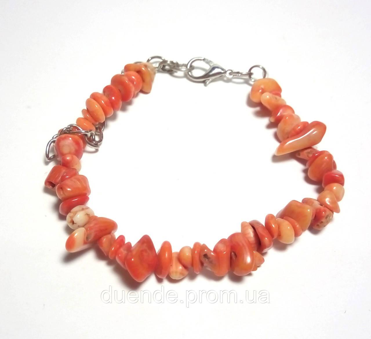 Браслет Коралл крошка, натуральный камень, цвет оранж, тм Satori \ Sb - 0004