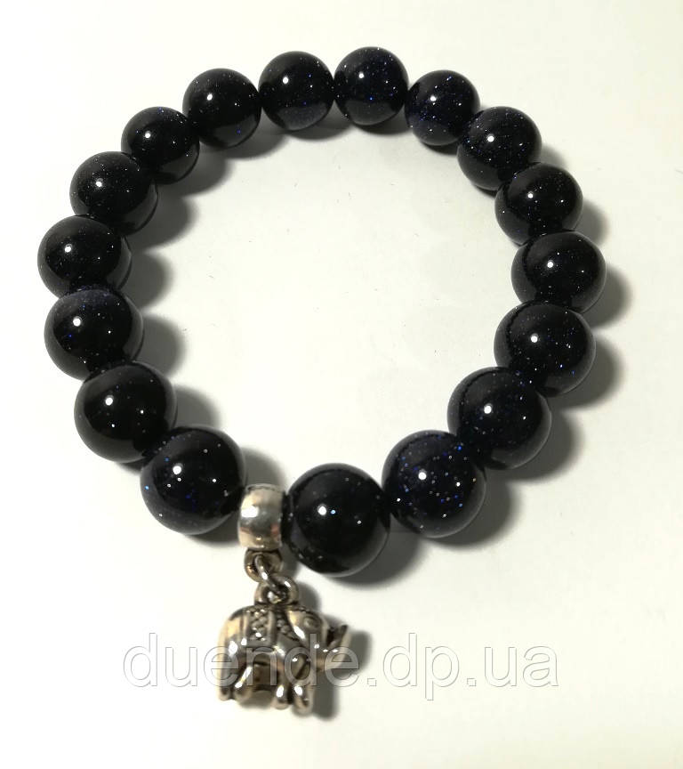 Браслет Авантюрин Ночь Каира, натуральный камень, цвет темно-синий, тм Satori \ Sb - 0006