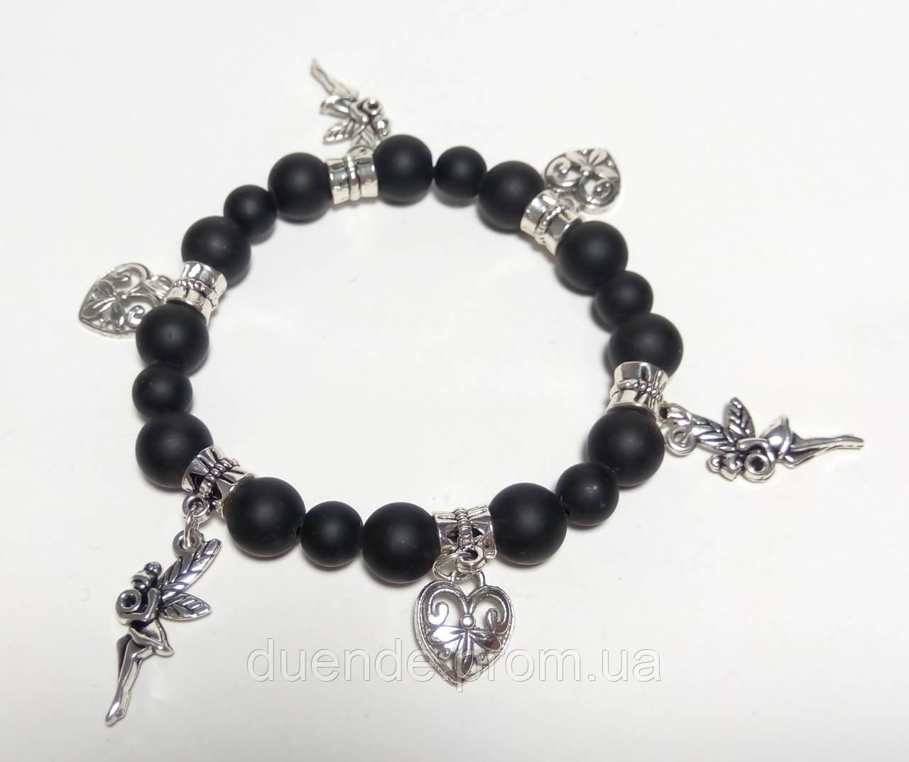 Браслет Шунгит с подвесками, натуральный камень, цвет черный, тм Satori \ Sb - 0018