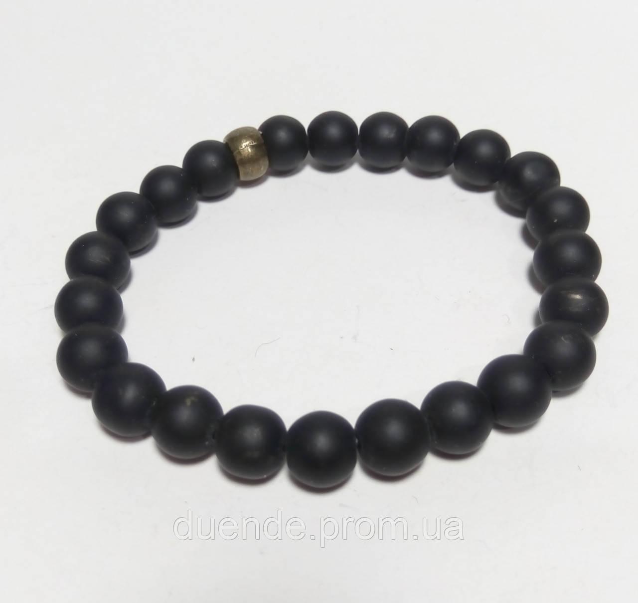 Браслет Шунгитовый натуральный камень, цвет черный, тм Satori \ Sb - 0021