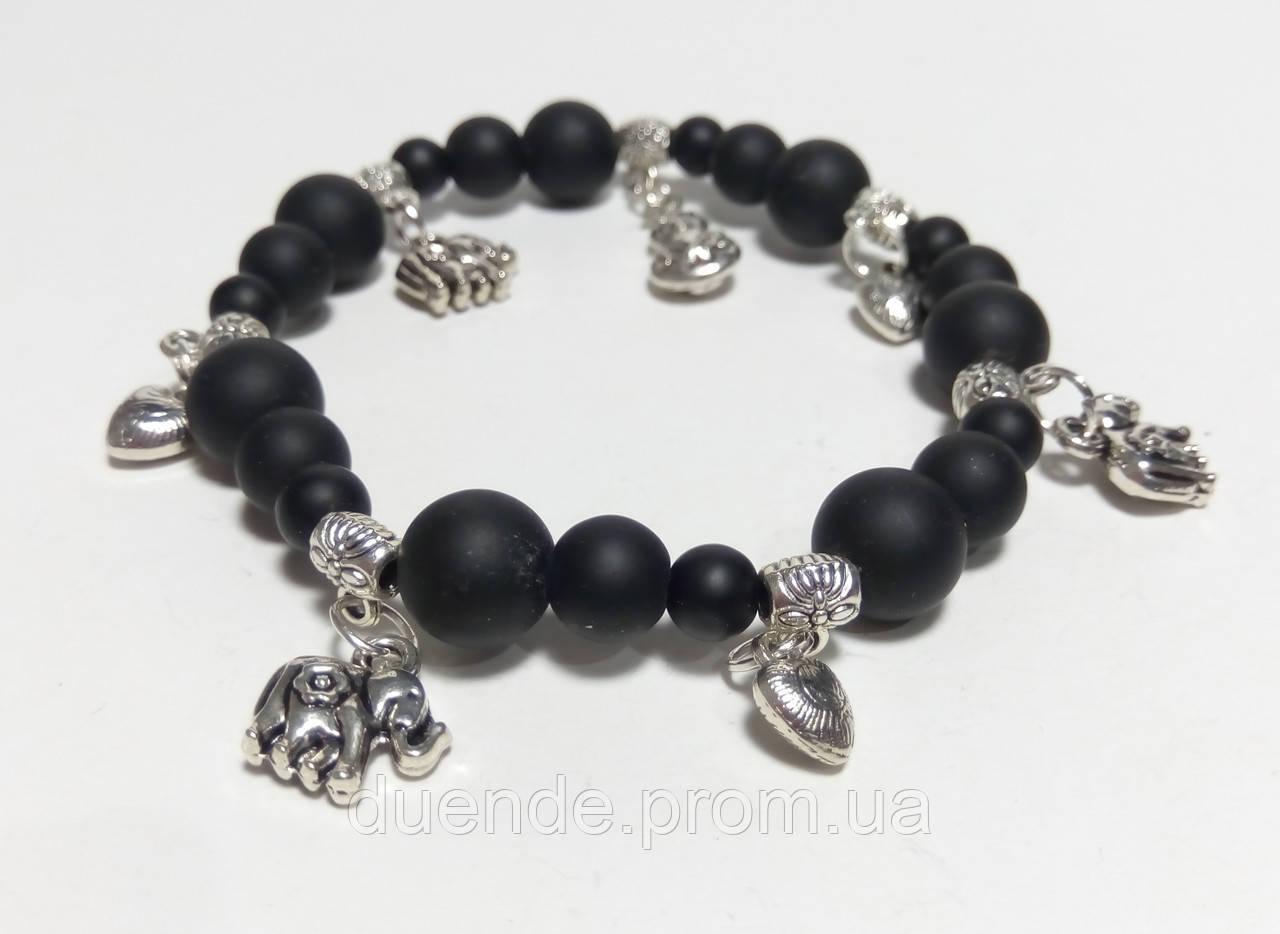 Шунгитовый Браслет с подвесками, натуральный камень, цвет черный, тм Satori \ Sb - 0023