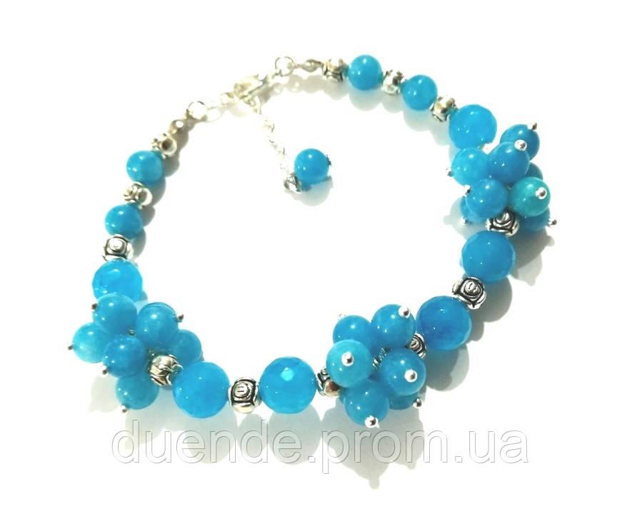 Браслет Аквамарин натуральный камень, цвет голубой и его оттенки, тм Satori \ Sb - 0028