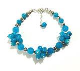 Браслет Аквамарин натуральный камень, цвет голубой и его оттенки, тм Satori \ Sb - 0028, фото 3