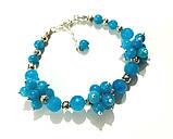 Браслет Аквамарин натуральный камень, цвет голубой и его оттенки, тм Satori \ Sb - 0028, фото 4