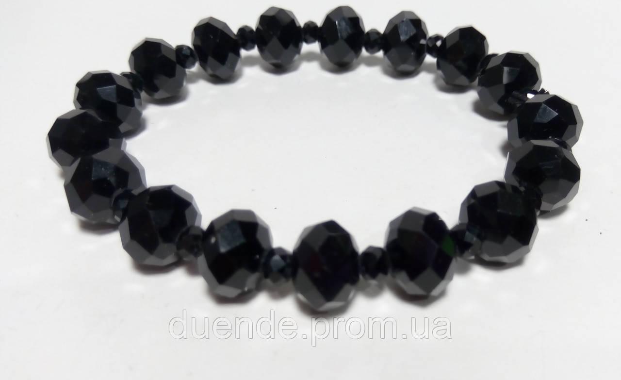 Браслет Чешский Хрусталь, цвет черный, тм Satori \ Sb - 0045