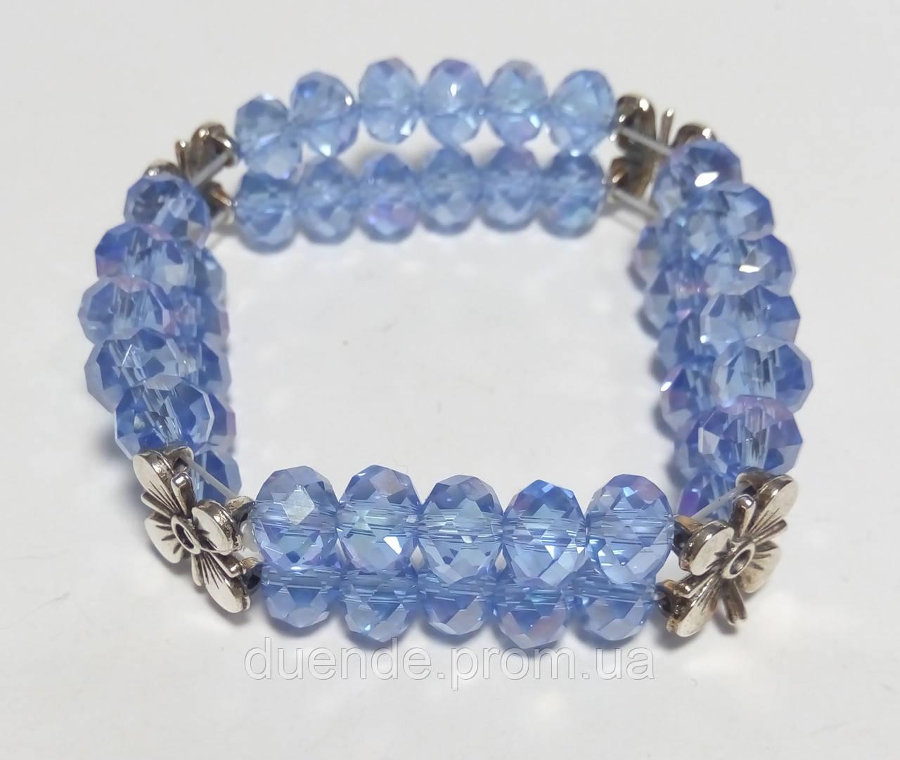 Браслет двухрядный Чешский Хрусталь, цвет голубой, тм Satori \ Sb - 0047