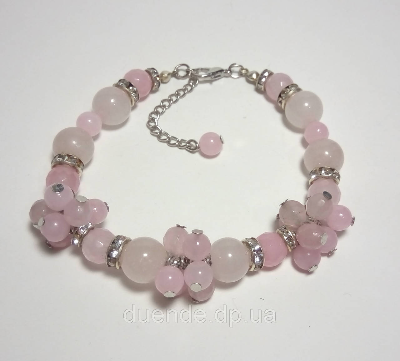Браслет с Розовым кварцом, натуральный камень, цвет розовый и его оттенки, тм Satori \ Sb - 0061