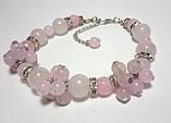 Браслет с Розовым кварцом, натуральный камень, цвет розовый и его оттенки, тм Satori \ Sb - 0061, фото 3