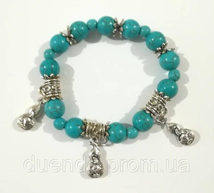 Браслет из Бирюзы натуральный камень, цвет голубой и его оттенки, тм Satori \ Sb - 0069