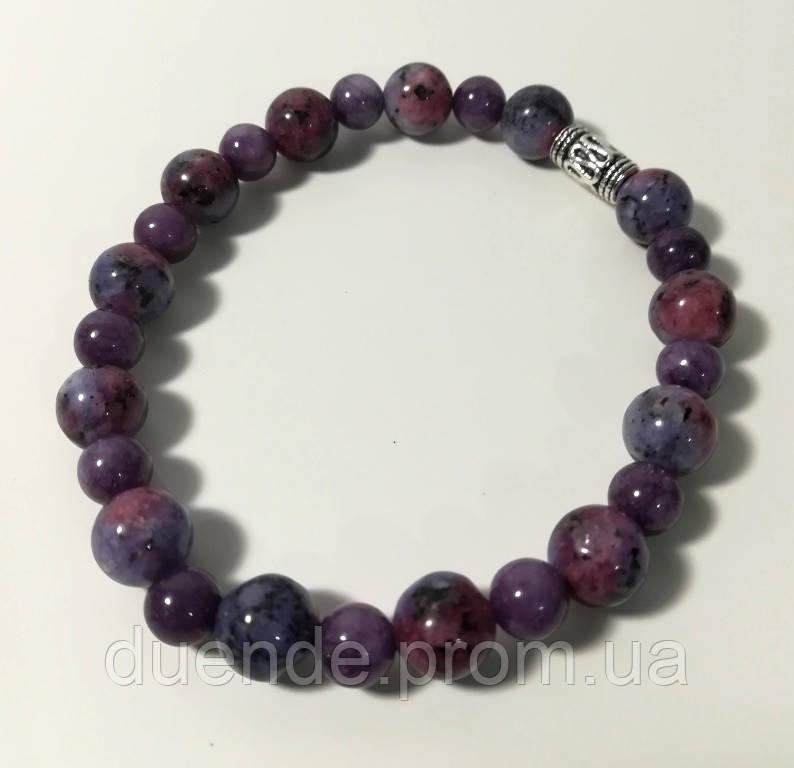 Браслет Чароит, натуральный камень, цвет фиолетовый и его оттенки, тм Satori \ Sb - 0074