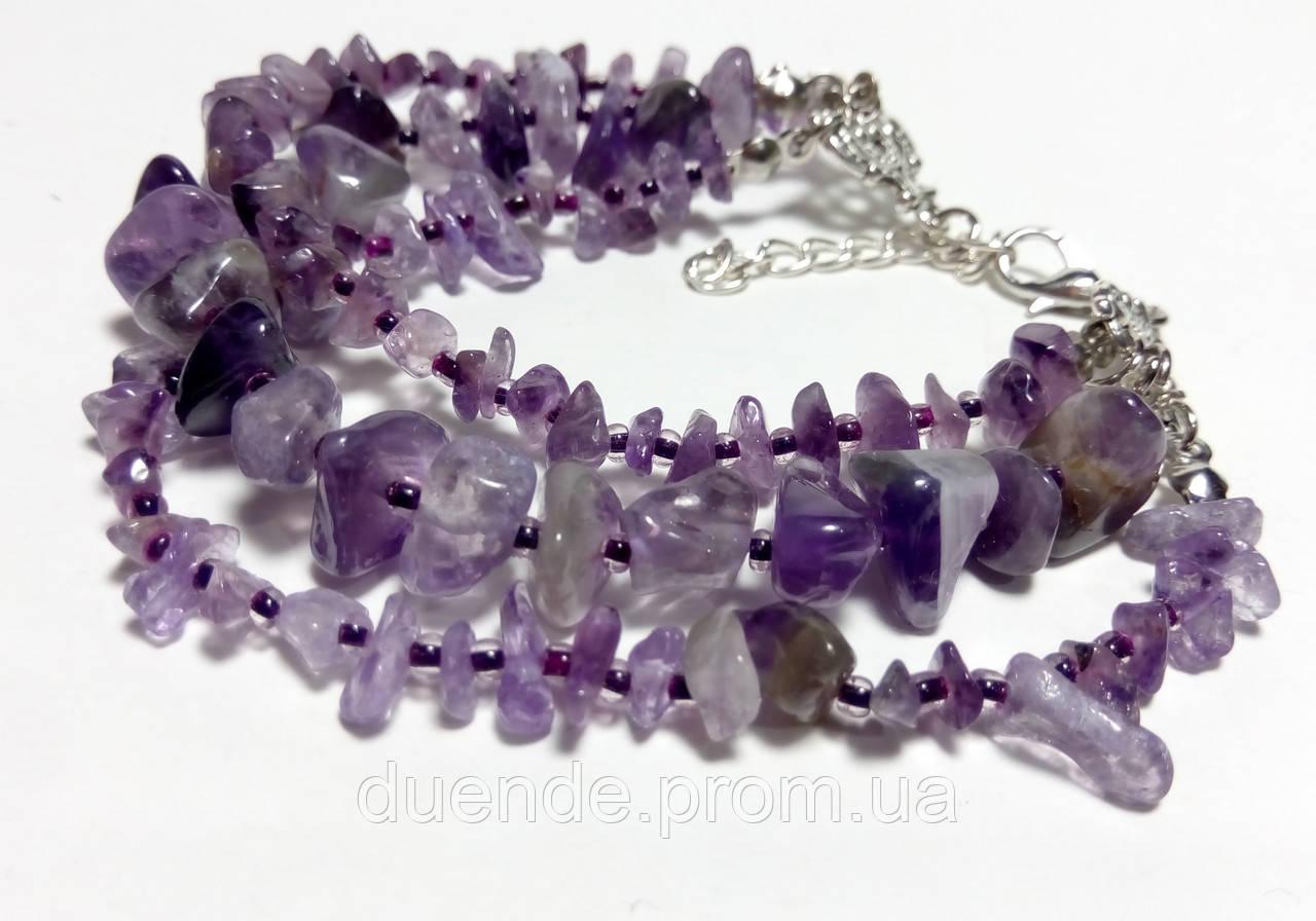 Браслет Аметист тройной, натуральный камень, цвет фиолетовый и его оттенки, тм Satori \ Sb - 0091