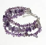 Браслет Аметист тройной, натуральный камень, цвет фиолетовый и его оттенки, тм Satori \ Sb - 0091, фото 2