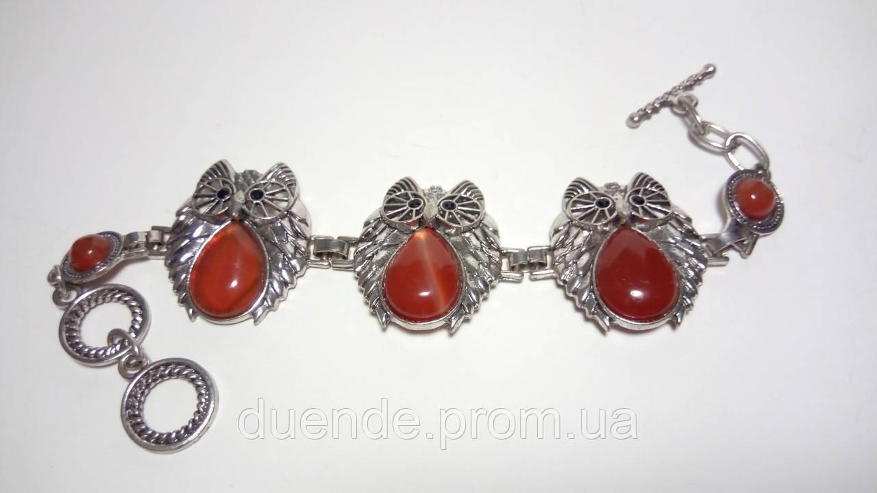 Браслет Сердолик Совы, натуральный камень, цвет бордо и его оттенки, тм Satori \ Sb - 0093