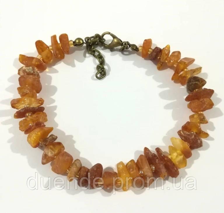 Браслет Янтарь крошка, натуральный камень, цвет янтарь и его оттенки, тм Satori \ Sb - 0096