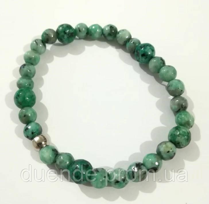 Браслет Яшма, натуральный камень, цвет зеленый и его оттенки, тм Satori \ Sb - 0103