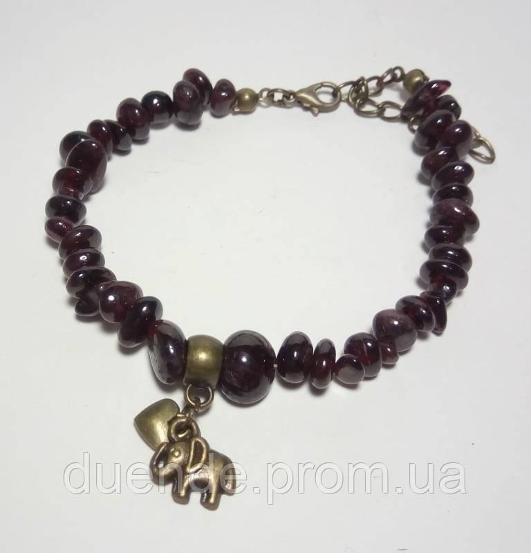 Браслет Гранат крошка, натуральный камень, цвет бордо и его оттенки, бронза, тм Satori \ Sb - 0117
