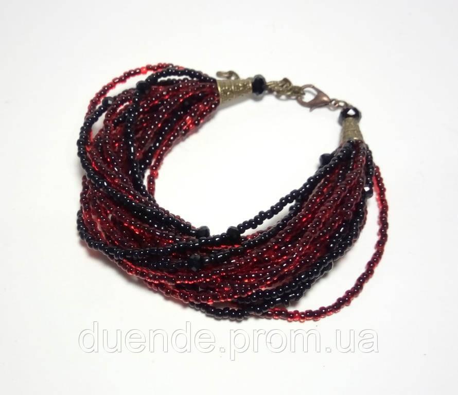 Браслет Элегия, бисер, чешский хрусталь, цвет бордо, черный, тм Satori \ Sb - 0120