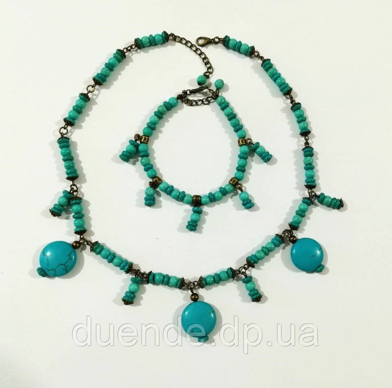 Чокер + браслет из Бирюзы, набор украшений из натурального камня, тм Satori \ Sn - 0044
