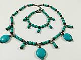 Чокер + браслет из Бирюзы, набор украшений из натурального камня, тм Satori \ Sn - 0044, фото 4