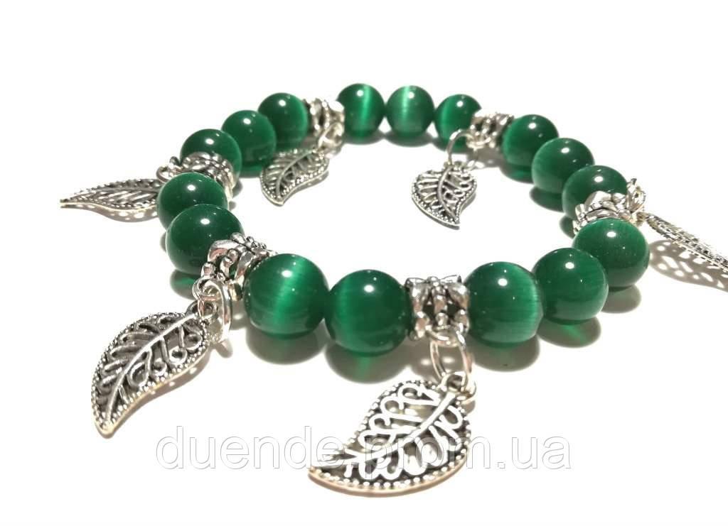 Браслет Кошачий глаз, натуральный камень, цвет зеленый и его оттенки, тм Satori \ Sb - 0129