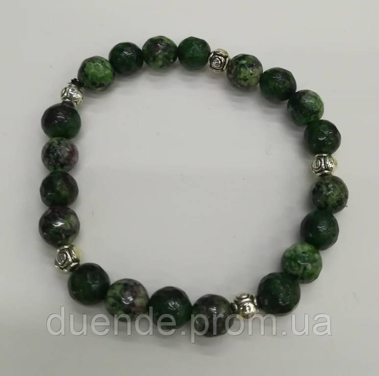 Браслет Цоизит, натуральный камень, цвет зеленый и его оттенки, тм Satori \ Sb - 0134