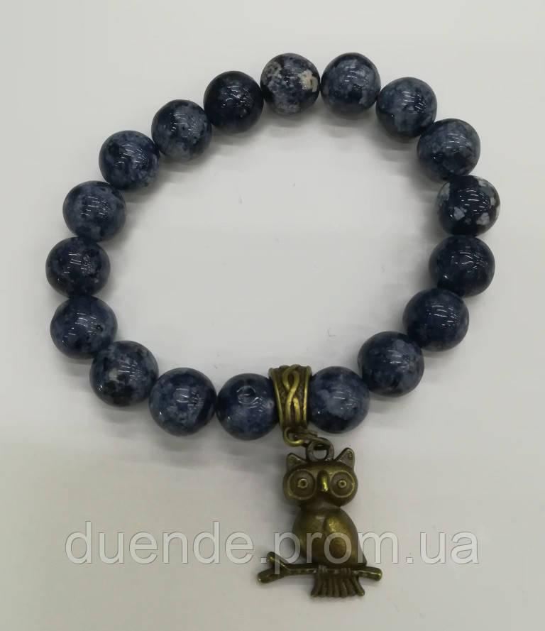 Браслет из Сапфирового Кварца Мудрая Сова, натуральный камень, тм Satori \ Sb - 0136