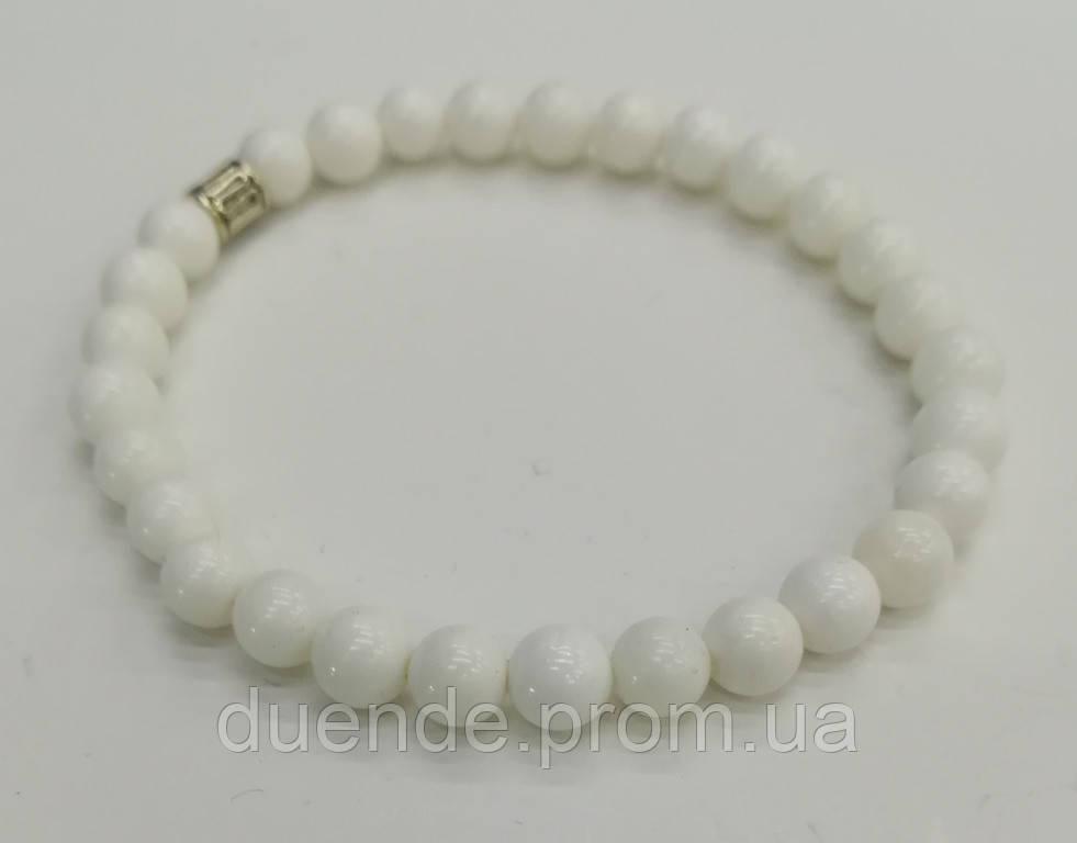 Браслет тонкий из Перламутра, цвет белый, натуральный камень, тм Satori \ Sb - 0144