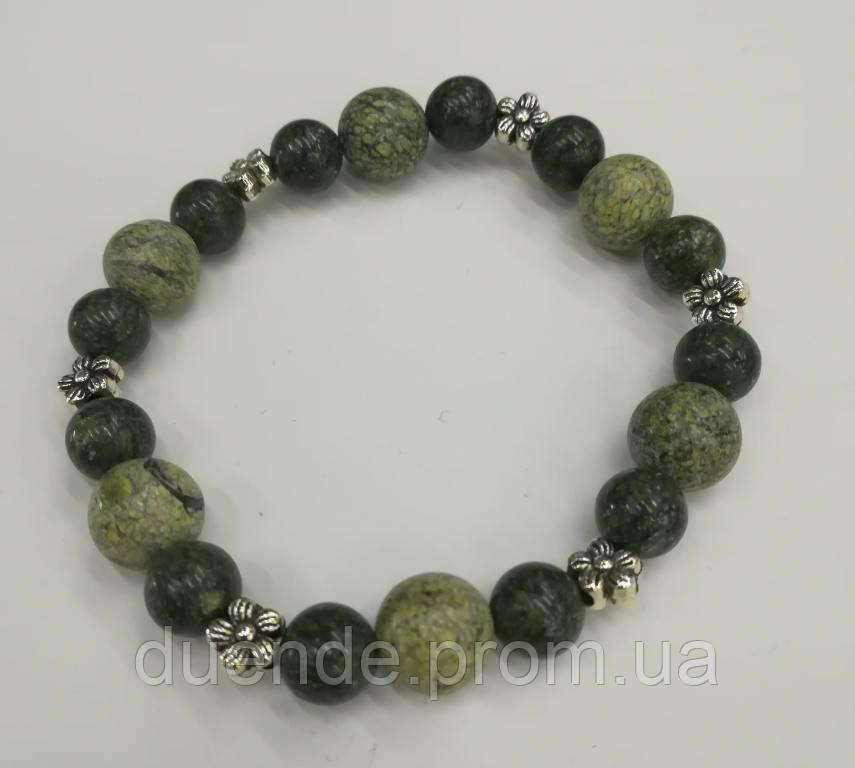 Браслет Змеевик (Серпентин), натуральный камень, цвет зеленый и его оттенки, тм Satori \ Sb - 0150