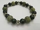 Браслет Змеевик (Серпентин), натуральный камень, цвет зеленый и его оттенки, тм Satori \ Sb - 0150, фото 2